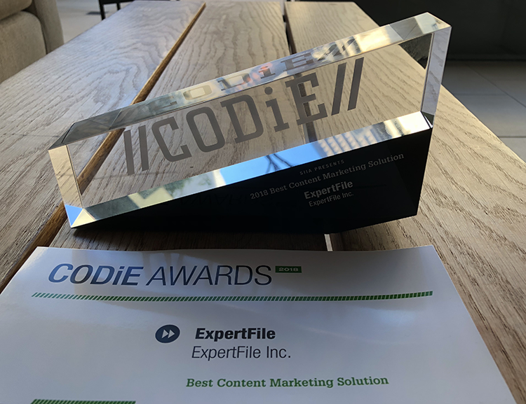"ExpertFile Wins ""Best Content Marketing Solution"" Award at 2018 SIIA CODiE Awards Platform simplifies online marketing of experts through multimedia focused profile design and cloud-based global directory accessed by newsrooms worldwide."